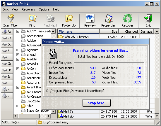 Click to view Back2Life 2.6.1 screenshot